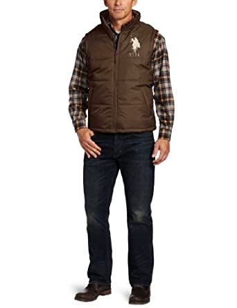 U.S. Polo Assn. Men's Solid Vest With Big Pony, Dark Brown, X-Large