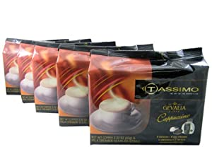 Tassimo T-Discs: Gevalia Cappuccino T-Discs Pods (Case of 5 packages; 80 T-Discs Total) by Kraft Foods