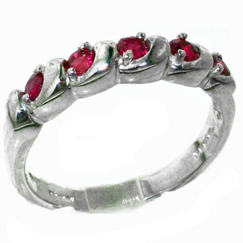 Luxury Solid Sterling Silver Vibrant Natural Ruby Eternity Ring - Size 11.75 - Finger Sizes 4 to 12 Available - Suitable as an Anniversary ring, Engagement ring, Eternity Ring, or Promise ring
