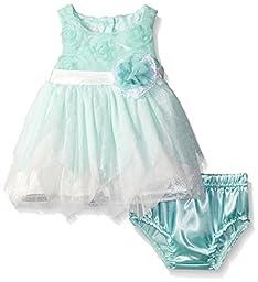 Nannette Little Girls Petal Dress, Green/Mint, 3-6 Months