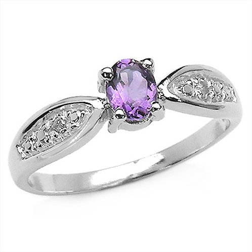 Genuine Amethyst & Diamond Gemstone Rhodium Plated Sterling Silver Ring Size 7