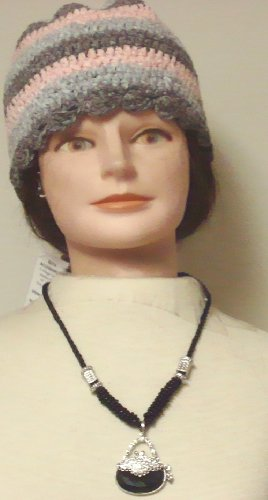 Hand Crocheted Pink Grey Blue Chenille Gimp Stripped Skull Cap Offered with Sterling Silver Plated with Simulated Onyx Pearl Necklace Sparkling Crystals Large Onyx Pendant