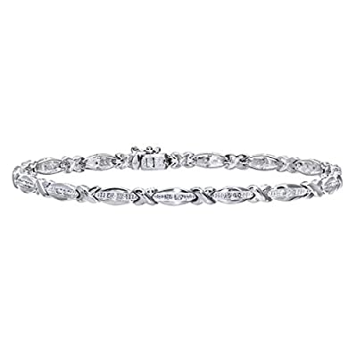 Ariel 0.15 Carat I Diamond Channel Setting Link Bracelet in 9ct White Gold