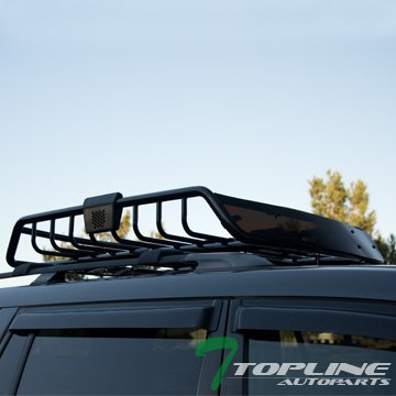 Topline Autopart Black Roof Rack Basket Car Top Cargo Baggage Carrier Storage W/Wind Fairing T01 (1990 F150 Roof Rack compare prices)