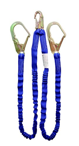 Elk River 35386 NoPac Energy-Absorbing 2 Leg Polyester Web Lanyard with Zsnaphook and Zrebarhook, 6' Length x 1-1/4