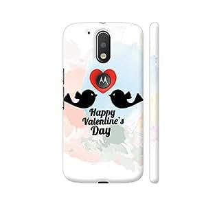 Colorpur Two Black Birds Love On Red Heart Designer Mobile Phone Case Back Cover For Motorola Moto G4 / Moto G4 Plus | Artist: Designer Chennai