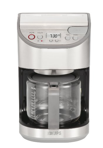 KRUPS KM611D50 Precision Programmable Coffee Maker with Aroma Selection System and Stainless Steel Housing, 12-cup Silver