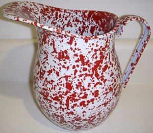 Enamelware Large Pitcher, Red Marble