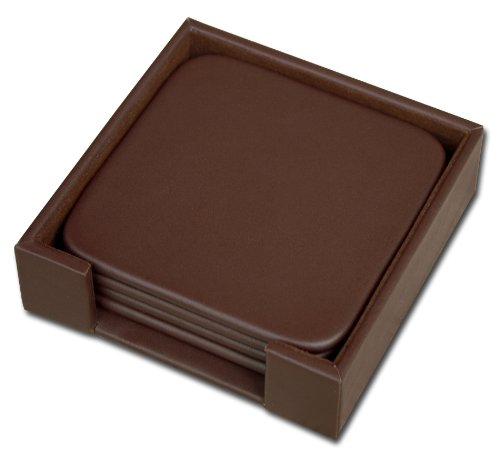 Dacasso Chocolate Brown Leather 4-Square Coaster Set