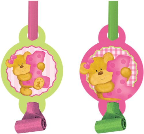 Creative Converting Bears First Birthday Blowouts With Medallions, Pink, 8 Count