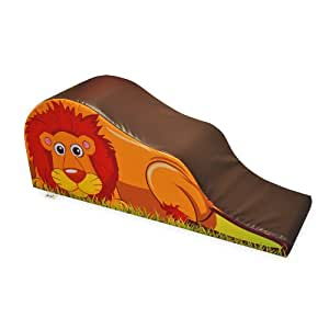 Implay® Soft Play Children's Lion Ride 'n' Slide Activity Toy - 610gsm PVC / High Density Foam - Brown & Orange - 140cm x 25cm x 60cm