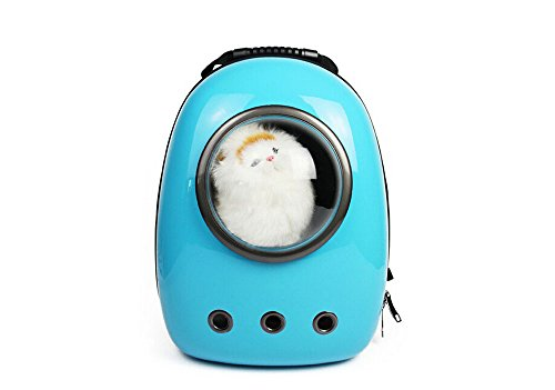 Fashion Shop Innovative Patent Bubble Pet Carriers Traveler Bubble Backpack Pet Carrier for Cats and Dogs Both the Mesh and the Bubble Cover Supply Pet Bag Airline Travel Approved Carrier (Blue)