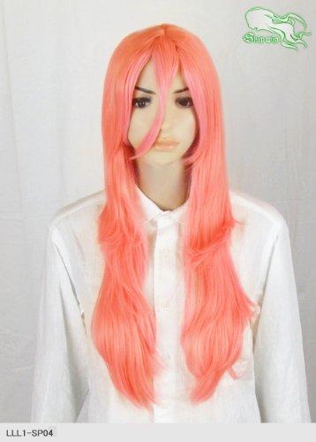 スキップウィッグ 魅せる シャープ 小顔に特化したコスプレアレンジウィッグ フェザーロング ピンクグレープフルーツ