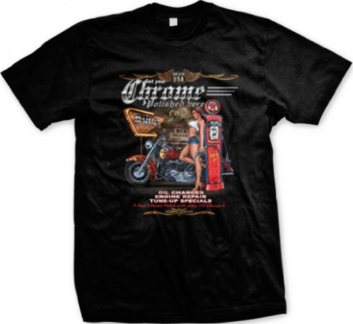 Biker Gas Station and Pinup Men's T-shirt, Get Your Chrome Polished Here Chopper Design Men's Tee (Black, Large)