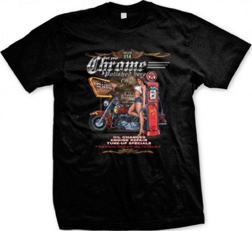 Biker Gas Station and Pinup Men's T-shirt, Get Your Chrome Polished Here Chopper Design Men's Tee (Black, Large)