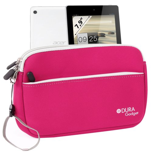 Duragadget Hot Pink Water Resistant Neoprene Sleeve With Front Zip Pocket For Acer Iconia A1-810-L416 7.9-Inch 16 Gb Tablet