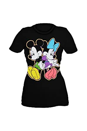 Disney Mickey And Minnie Leaning Girls T-Shirt Plus Size Size : XX-Large
