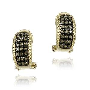 18K Gold over Sterling Silver 1/2ct Champagne Diamonds Half Hoop Earrings
