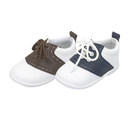 Toddler Boys Size 7 Navy White Lace Up Trendy Saddle Shoes front-229628