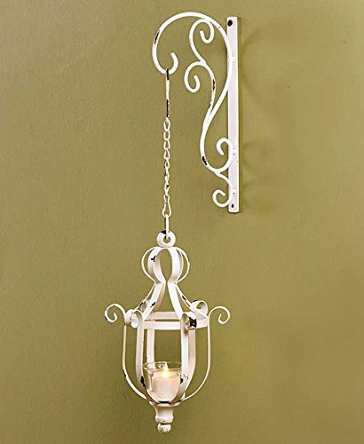 Distressed Antiqued White Vintage Style Metal Decorative Wrought Iron Hanging LED Candle Lantern Sconce Home Accent Decoration (Vintage French Decor compare prices)