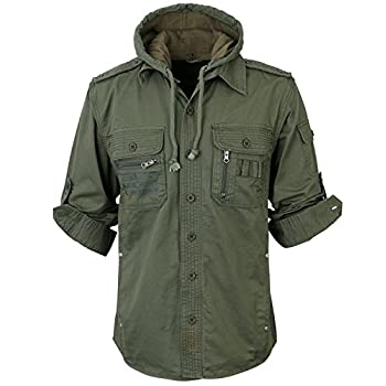 ililily Men Military Vintage Hood Slim Fit Tactical Roll Up Shirt Jacket
