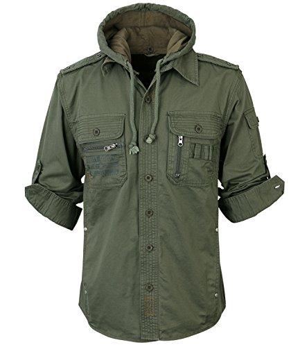 ililily Men Military Vintage Hood Slim Fit Tactical Roll Up Shirt Jacket 1