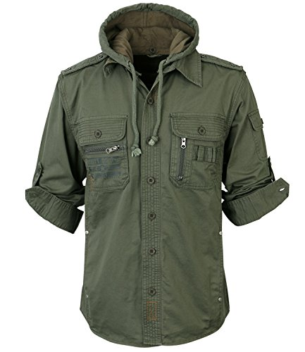ililily Men Military Vintage Hood Slim Fit Tactical Roll Up Shirt Jacket 1