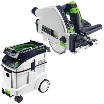 Festool P48561556 Ts 55 Req Plunge Cut Circular Saw With Ct 48 E 12.7 Gallon Hepa Dust Extractor front-523771