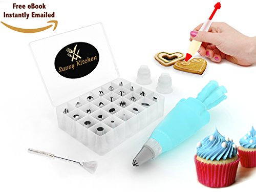 BEST Deal - 24 Piece Professional Cake Decorating Supplies Set Tips and FREE DECORATING PEN & eBOOK - Includes Storage Case + BONUS Cleaning Brush & Reusable Silicone Icing Bag - With 2 Couplers (Dallas Cowboys Baking compare prices)