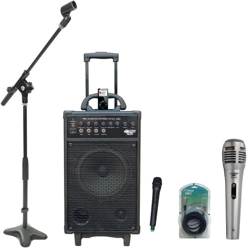 Pyle Speaker, Mic, Stand And Cable Package - Pwma860I 500W Vhf Wireless Portable Pa System /Echo W/Ipod Dock - Pdmik1 Professional Moving Coil Dynamic Handheld Microphone - Pmks7 Compact Base Microphone Stand - Ppfmxlr15 15Ft. Xlr Male To Xlr Female Micro