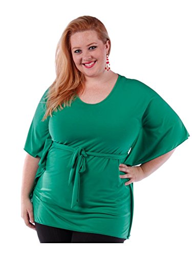Fall Essentials Plus Size Tunic With Tie Waist Belt (1X, Kelly Green)