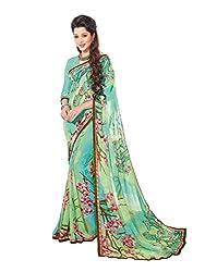 PShopee Green Weightless Designer Poonam Chiffon Saree with Blouse Piece