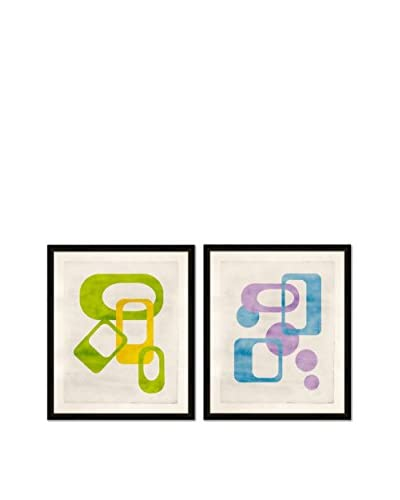 Soicher Marin Set of 2 Mod Giclée Reproductions, Blue/Purple/Green/Yellow