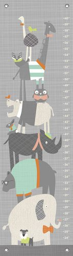 "Oopsy Daisy Happy Animal Herd Growth Chart, Gray/Aqua/Green/Orange, 12"" x 42"""