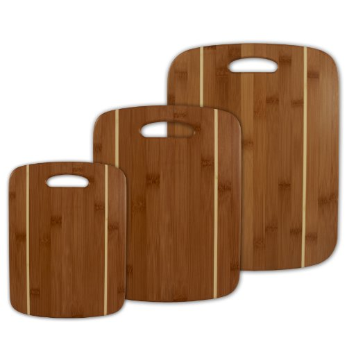 Totally Bamboo 3-Piece Stripe Cutting Board Set