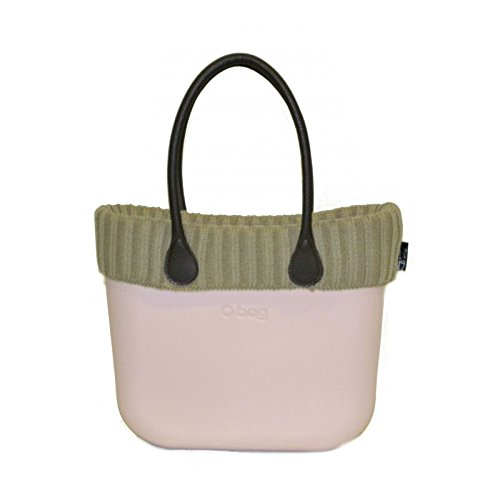 Borsa O Bag rosa grande manici eco pelle bordo lana