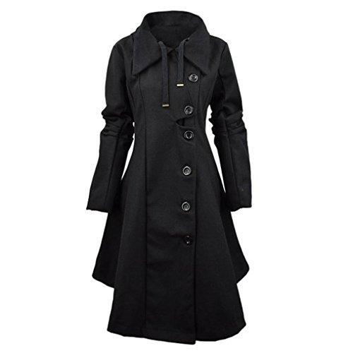 Elevin(TM)Women Fashion Windbreaker Button Closure Asymmetrical Hem Cloak Parkas Coat (S, Black)