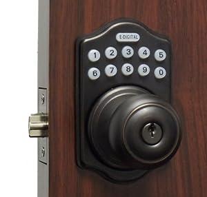 Lockey E-930 Electronic Keypad Knob Handleset with 6 User Codes and LED Illumination from the, Antique Bronze