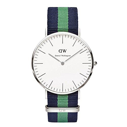 Daniel Wellington Warwick Silver Men's Quartz Watch with White Dial Analogue Display and Multicolour Nylon Strap 0205DW