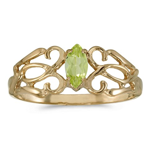 0.21 Carat Ctw 10K Gold Marquise Green Peridot Solitaire Filigree Design Antique Engagement Fashion Ring - Yellow-Gold, Size 12