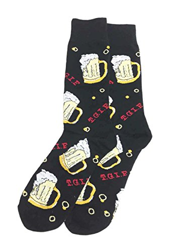 Aesthetinc Men's Novelty Cotton Fun Cartoon Dress Socks (Black Beer Mugs)