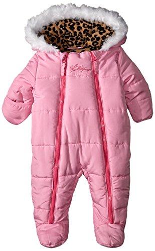 Weatherproof Baby-Girls Newborn Double Zipper Polyfilled Puffer Pram, Pink Prism, 6-9 Months