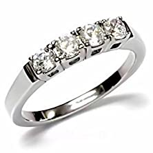 buy Natalie: 0.64Ct Russian Ice On Fire Cz 4 Stone Anniversary Wedding Band 316 Steel, 3111 Sz 10.0