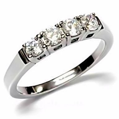 Natalie: Stainless Steel 0.64ct Russian Ice on Fire Diamond CZ 4 Stone Anniversary Wedding Band sz 9.5 (avail. in 5 to 10)
