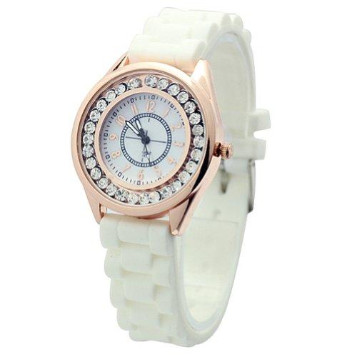 WLM Beige New Silicone Band Crystal Jelly Fashion Ladies Casual Quartz Wrist Watch Watches