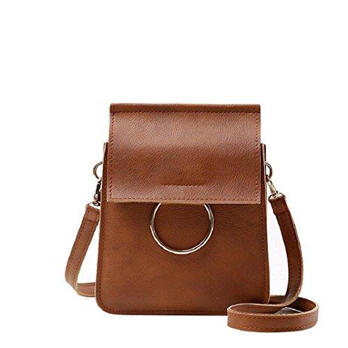 Kingko Sacchetto della borsa della borsa di modo del cuoio singola spalla Messenger Bag Phone Pocket Money Bag imballaggio ragazze Casual Bag (Marrone)