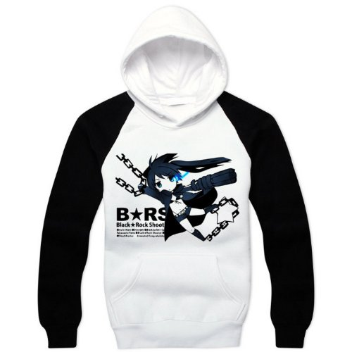 BRS Black Rock Shooter Cosplay Costume Anime Black White Hoodie Size XL
