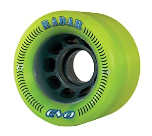 Radar Wheels EVO Roller Skate Wheel,Yellow/Green,62