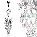 Belly Button Ring Navel Multi Color Owl Body Jewelry Dangle 14 Gauge