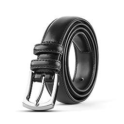 Men\'s Classic Stitched Leather Dress Belt - Black (36) Single Pack